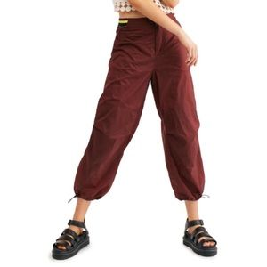 Free People Burgundy Ripple Sport Jogger Pants